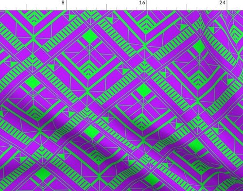 Neon Ultraviolet and Lime Green Small Neon Art Deco Geometric Triangle Pattern