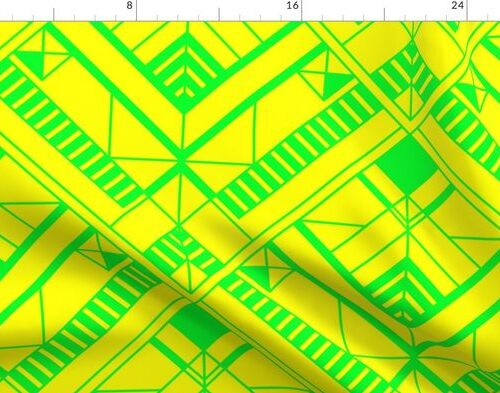 Neon Yellow and Lime Green Large Neon Art Deco Geometric Triangle Pattern