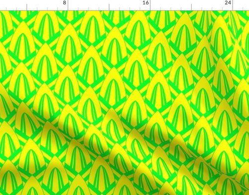 Neon Yellow and Lime Green Small Neon Art Deco Geometric Cone Pattern