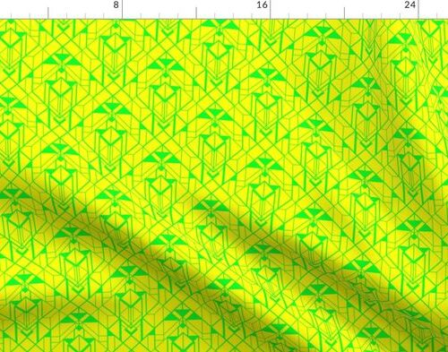 Neon Yellow and Lime Green Small Neon Art Deco Geometric Triangle Pattern