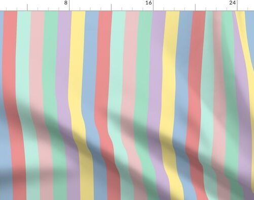 Pastel Easter Rainbow Vertical Stripes 1 inch Wide