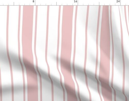 Pink and White Vertical French Stripe
