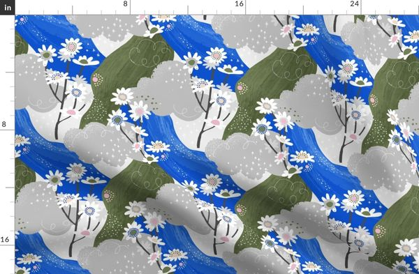 Small Blue and White Daisies Abstract Seamless Repeat Pattern