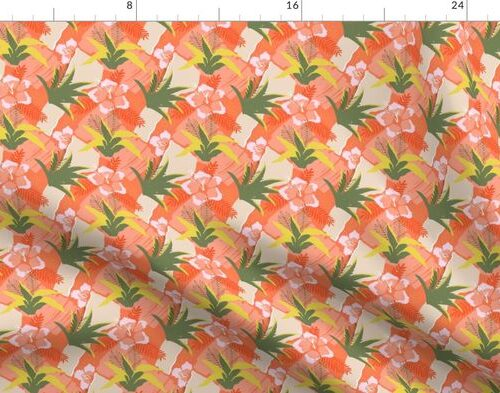 Tiny Coral Hibiscus Floral Abstract Seamless Repeat Pattern